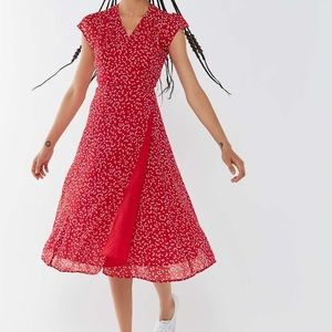 Urban Outfitters Red Heart Wrap Dress Midi